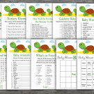 Cute Turtle baby shower games package,Turtle baby shower games pack,9 Games,INSTANT DOWNLOAD-333