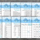 Whale baby shower games package,Under the sea baby shower games pack,9 Games,INSTANT DOWNLOAD-335