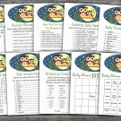 Owl baby shower games package,Owl baby shower games pack,9 Games,INSTANT DOWNLOAD-365