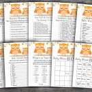 Orange Owl baby shower games package,Owl baby shower games pack,9 Games,INSTANT DOWNLOAD-366