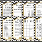 Black White Chevron Birthday Game package,Adult Birthday Game,birthday party,9 GameINSTANT DOWNLOAD