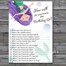 Mermaid How well do you know the birthday girl,Adult Birthday Game,INSTANT DOWNLOAD-12