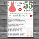 55th Birthday How well do you know the birthday girl,Adult Birthday Game,INSTANT DOWNLOAD-13