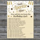 Gold glitter How well do you know the birthday girl,Adult Birthday Game,INSTANT DOWNLOAD-21