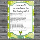 Palm How well do you know the birthday girl,Adult Birthday Game,INSTANT DOWNLOAD-25