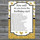 Gold glitter heart How well do you know the birthday girl,Adult Birthday Game,INSTANT DOWNLOAD-26
