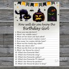 Halloween How well do you know the birthday girl,Adult Birthday Game,INSTANT DOWNLOAD-29