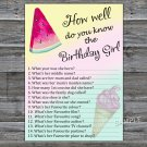 Watermelon How well do you know the birthday girl,Adult Birthday Game,INSTANT DOWNLOAD-31