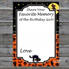 Halloween Favorite Memory of the Birthday Girl,Adult Birthday Game,INSTANT DOWNLOAD--27