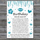 Blue glitter birthday word search game,Adult Birthday Game,INSTANT DOWNLOAD--17