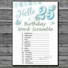 25th Birthday, BIRTHDAY WORD SCRAMBLE Game,Adult Birthday Game,INSTANT DOWNLOAD--9