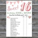 16th Birthday, Birthday ever or never game,Adult Birthday Game,INSTANT DOWNLOAD--6