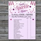 Pink glitter Birthday ever or never game,Adult Birthday Game,INSTANT DOWNLOAD--22