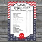 Octopus Birthday ever or never game,Adult Birthday Game,INSTANT DOWNLOAD--24
