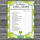 Palm Birthday ever or never game,Adult Birthday Game,INSTANT DOWNLOAD--25