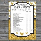 Gold glitter heart Birthday ever or never game,Adult Birthday Game,INSTANT DOWNLOAD--26
