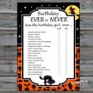 Halloween Birthday ever or never game,Adult Birthday Game,INSTANT DOWNLOAD--27