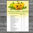 Halloween Birthday ever or never game,Adult Birthday Game,INSTANT DOWNLOAD--28