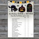 Halloween Birthday ever or never game,Adult Birthday Game,INSTANT DOWNLOAD--29