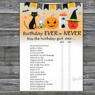 Halloween Birthday ever or never game,Adult Birthday Game,INSTANT DOWNLOAD--30