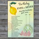 Lemon Birthday ever or never game,Adult Birthday Game,INSTANT DOWNLOAD--32
