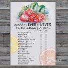 Strawberry Birthday ever or never game,Adult Birthday Game,INSTANT DOWNLOAD--33