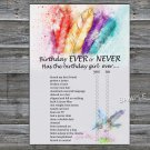 Tribal Feather Birthday ever or never game,Adult Birthday Game,INSTANT DOWNLOAD--34