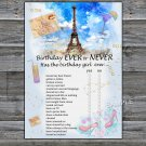 Paris Eiffel Tower Birthday ever or never game,Adult Birthday Game,INSTANT DOWNLOAD--35