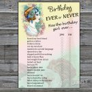 Vintage girl Birthday ever or never game,Adult Birthday Game,INSTANT DOWNLOAD--36