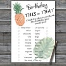 Pineapple this or that birthday game,Adult Birthday Game,INSTANT DOWNLOAD--1