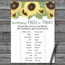 Sunflower this or that birthday game,Adult Birthday Game,INSTANT DOWNLOAD--2