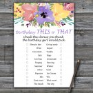 Watercolor flowers this or that birthday game,Adult Birthday Game,INSTANT DOWNLOAD--3
