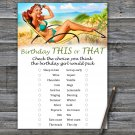 Pin Up this or that birthday game,Adult Birthday Game,INSTANT DOWNLOAD--4