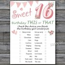 16th Birthday, this or that birthday game,Adult Birthday Game,INSTANT DOWNLOAD--6