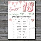 18th Birthday, this or that birthday game,Adult Birthday Game,INSTANT DOWNLOAD--7