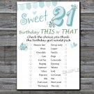 21st Birthday, this or that birthday game,Adult Birthday Game,INSTANT DOWNLOAD--8