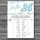 25th Birthday, this or that birthday game,Adult Birthday Game,INSTANT DOWNLOAD--9