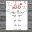 25th Birthday, this or that birthday game,Adult Birthday Game,INSTANT DOWNLOAD--10