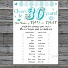 30th Birthday, this or that birthday game,Adult Birthday Game,INSTANT DOWNLOAD--11