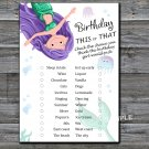 Mermaid this or that birthday game,Adult Birthday Game,INSTANT DOWNLOAD--12