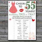 55th Birthday, this or that birthday game,Adult Birthday Game,INSTANT DOWNLOAD--13