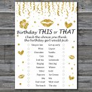 Gold glitter this or that birthday game,Adult Birthday Game,INSTANT DOWNLOAD--15