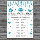 Blue glitter this or that birthday game,Adult Birthday Game,INSTANT DOWNLOAD--17