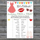 Dress lips this or that birthday game,Adult Birthday Game,INSTANT DOWNLOAD--18