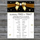 Golden bow this or that birthday game,Adult Birthday Game,INSTANT DOWNLOAD--19
