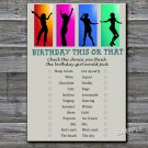 Dance party this or that birthday game,Adult Birthday Game,INSTANT DOWNLOAD--20