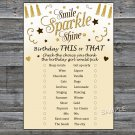 Gold glitter this or that birthday game,Adult Birthday Game,INSTANT DOWNLOAD--21