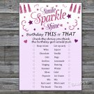 Pink glitter this or that birthday game,Adult Birthday Game,INSTANT DOWNLOAD--22