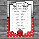 Ladybug this or that birthday game,Adult Birthday Game,INSTANT DOWNLOAD--23