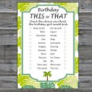Palm this or that birthday game,Adult Birthday Game,INSTANT DOWNLOAD--25